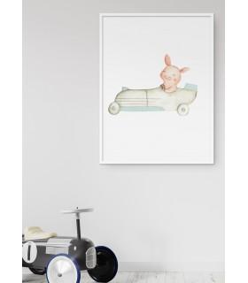 Affiche Enfant Cochon Voiture