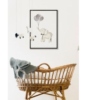 Affiche Enfant Éléphant Ballon