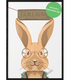 """Affiche lapin écolier """"prénom"""""""