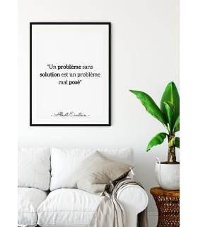 "Affiche Citation Einstein : ""Un problème sans solution…"""