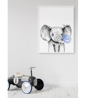 Affiche Bulle d'Éléphant bleue