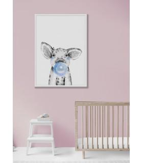 Poster Bulle de bébé Cochon Bleue