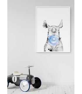 Poster Bulle de Rhinocéros Bleue