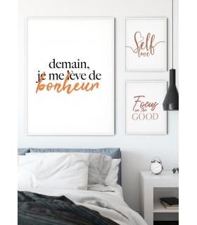 """Affiche """"Demain je me lève de bonheur"""""""