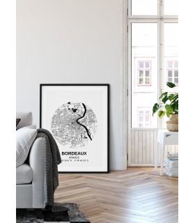 Poster Carte Bordeaux