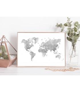 Poster Carte du monde argent