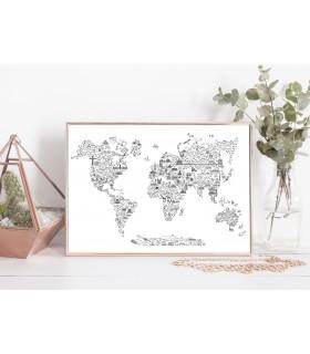 Poster Carte du monde Icônes