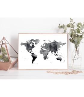 Poster Carte du monde noire