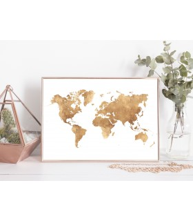 Poster Carte du monde Or
