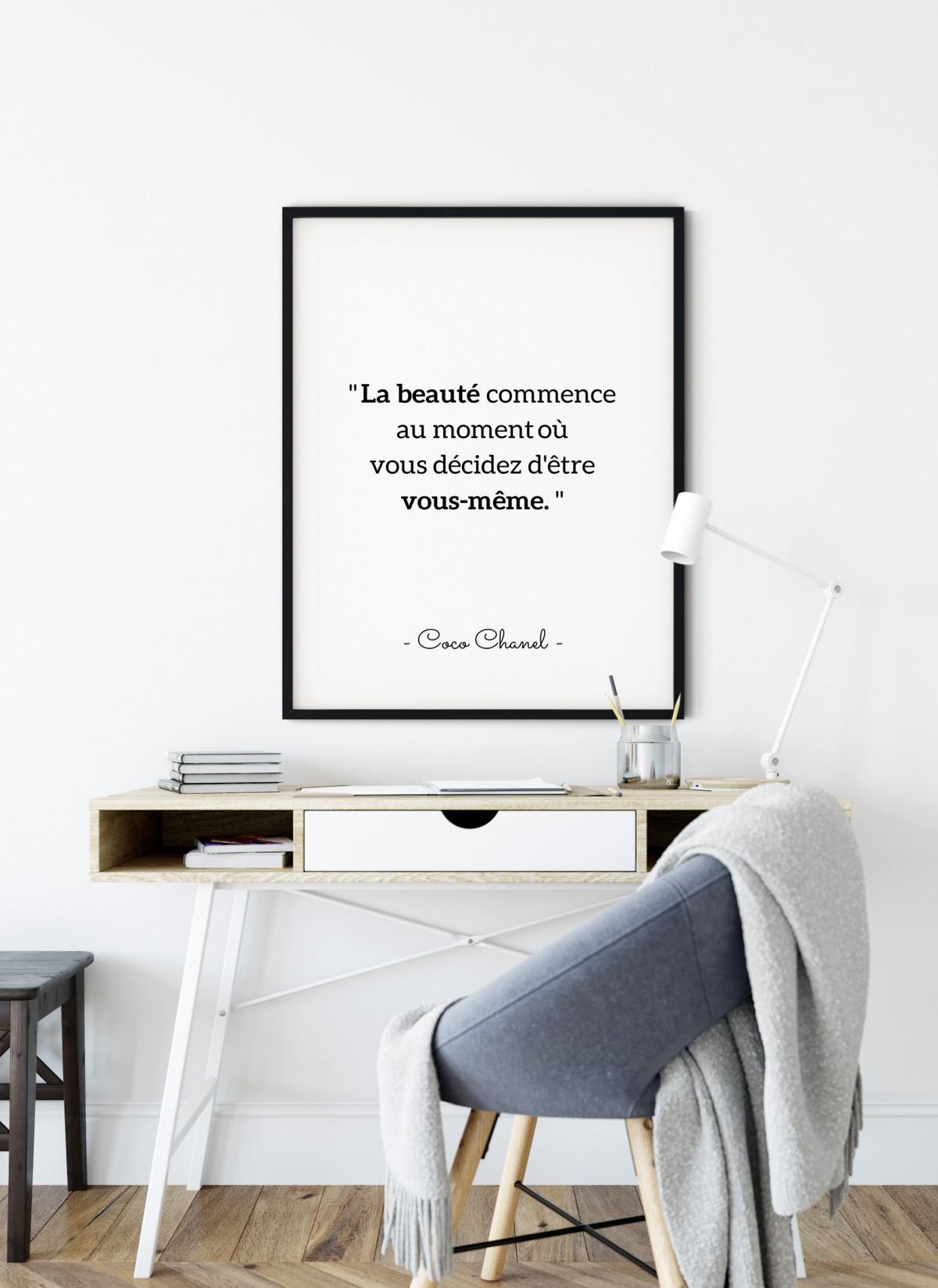 Affiche Citation Coco Chanel La Beauté Commence