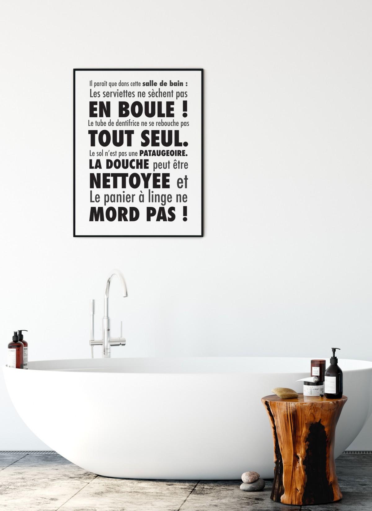 Affiche Pour Salle De Bain En Noir Et Blanc L Afficherie