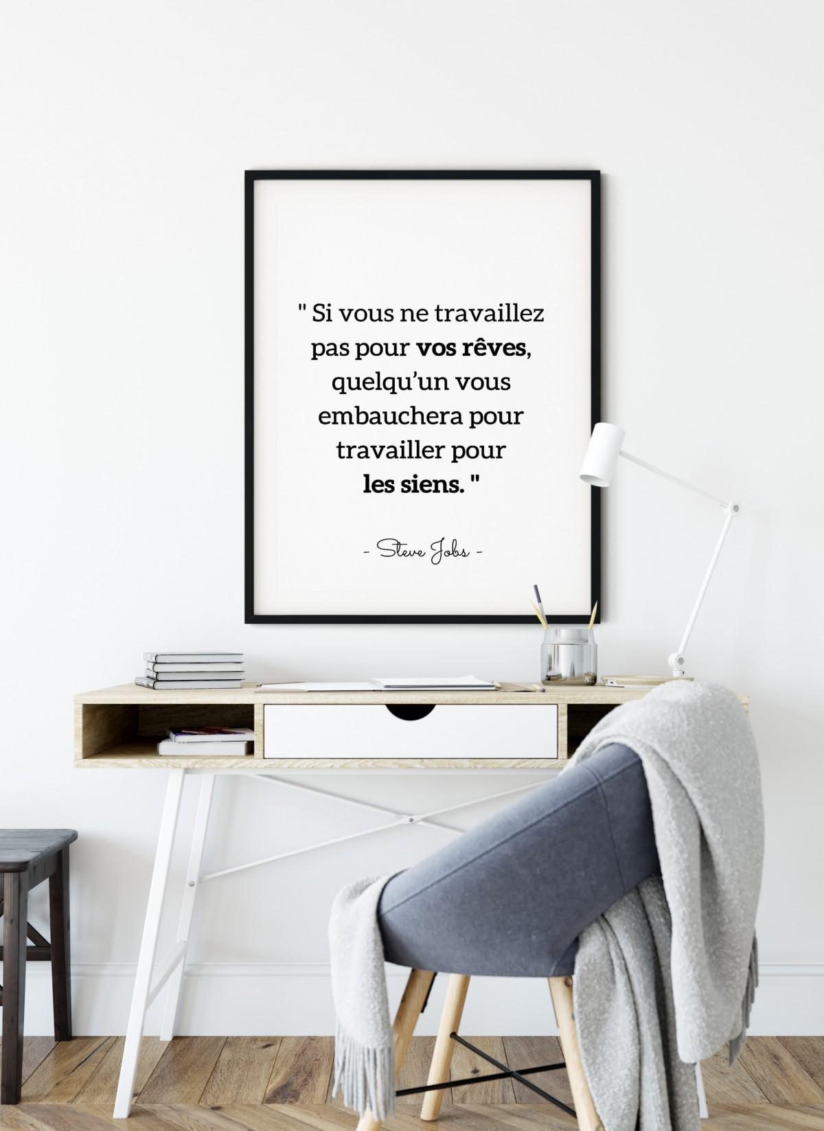 """Affiche S.Jobs : """"Si vous ne travaillez pas pour vos rêves..."""""""