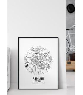 Affiche Carte Rennes