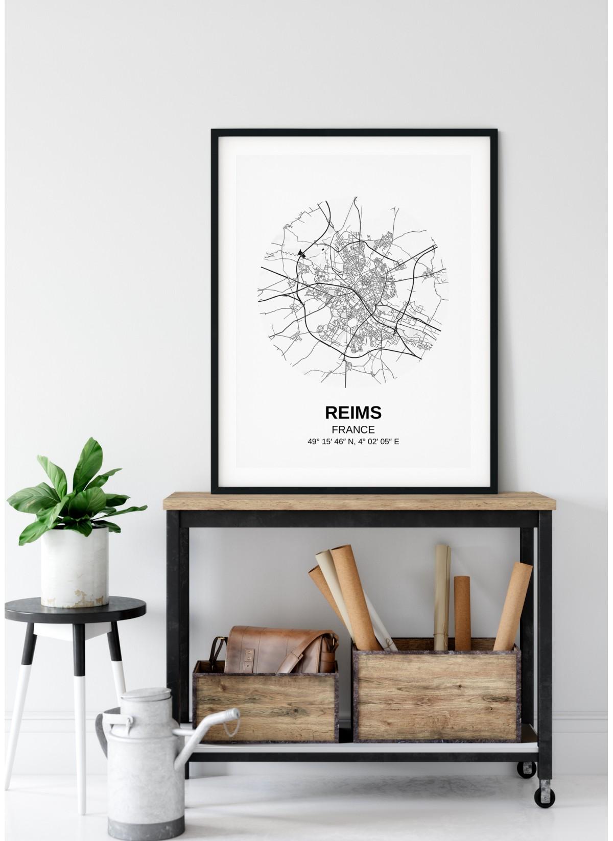 Affiche Carte Reims