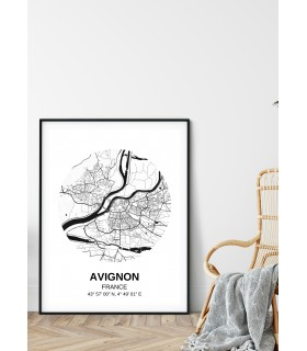 Affiche Carte Avignon