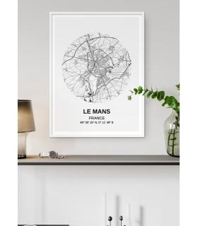 Affiche Carte Le Mans