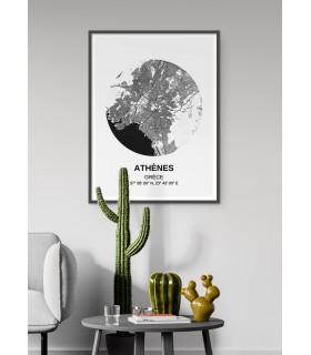 Affiche Carte Athènes
