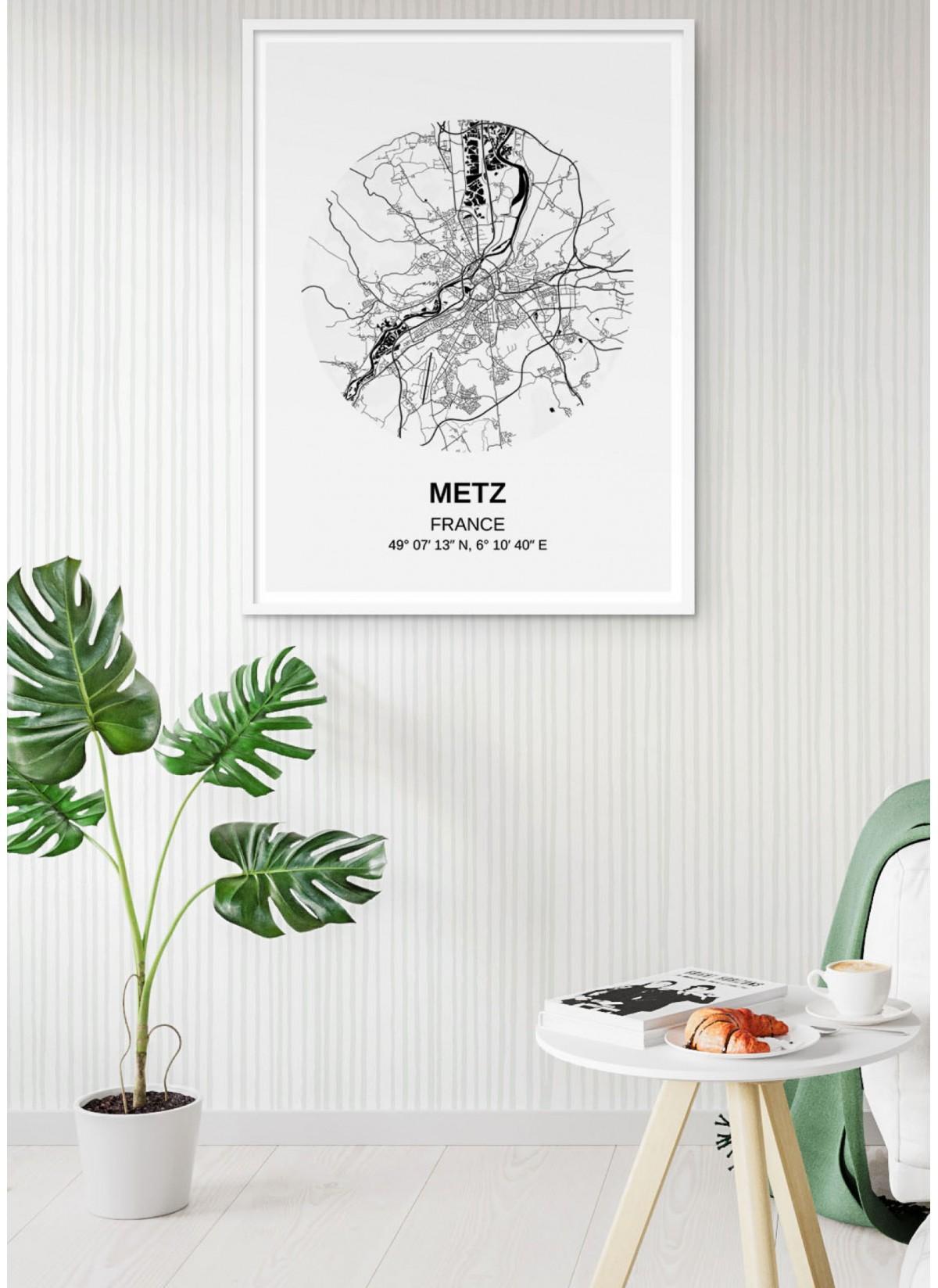 Affiche Carte Metz