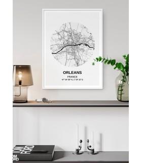 Affiche Carte Orléans