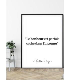 """Affiche Victor Hugo """"Le bonheur..."""""""