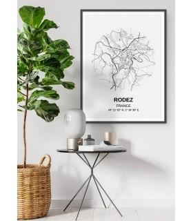 Affiche Carte Rodez