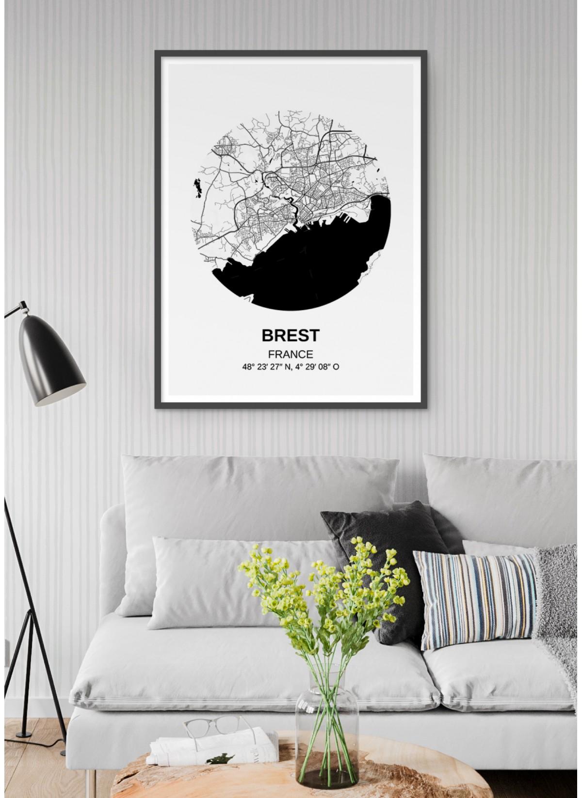Affiche Carte Brest