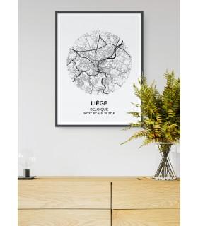 Affiche Carte Liège