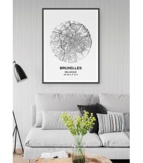 Affiche Carte Bruxelles