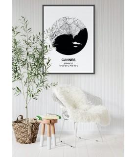 Affiche Carte Cannes