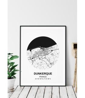 Affiche Carte Dunkerque
