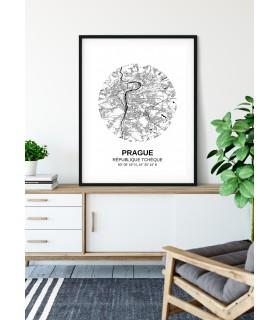 Affiche Carte Prague