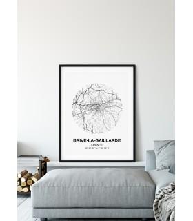 Affiche Carte Brive-la-Gaillarde