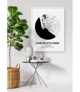 Affiche Carte Sables d'Olonne