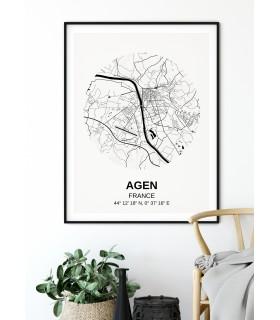 Affiche Carte Agen