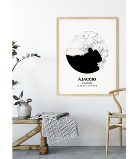 Affiche Carte Ajaccio