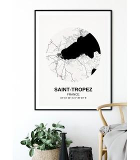 Affiche carte Saint-Tropez