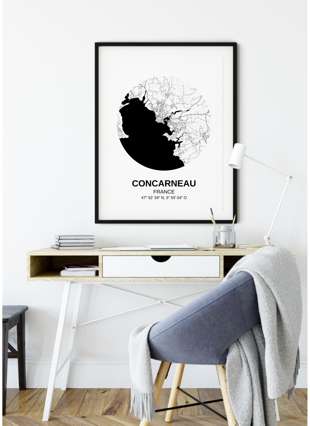 Affiche Carte Concarneau