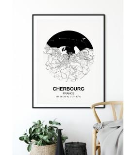 Affiche Carte Cherbourg