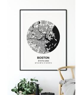 Affiche Carte Boston