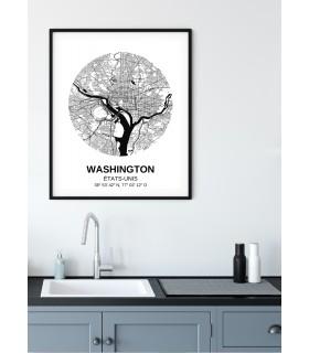 Affiche Carte Washington