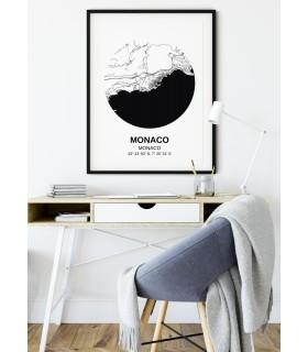 Affiche Carte Monaco