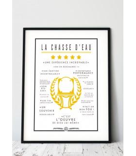 """Affiche Toilettes : """"La Chassse d'Eau"""""""