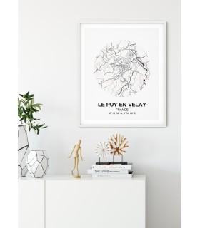 Affiche Carte Le Puy-en-Velay