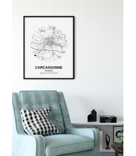 Affiche Carte Carcasonne