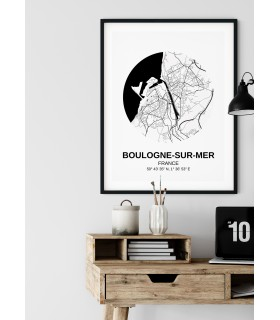 Affiche Carte Boulogne-sur-Mer