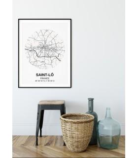 Affiche Carte Saint-Lô