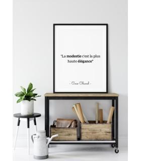 """Affiche Coco Chanel : """"La modestie"""""""