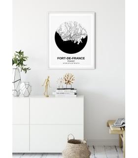 Affiche Carte Fort-de-France