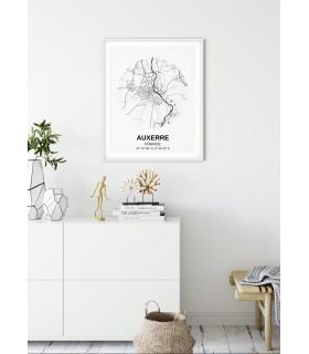Affiche Carte Auxerre