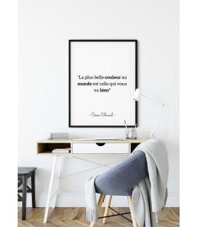 """Affiche Coco Chanel : """"La plus belle couleur..."""""""
